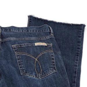 Calvin Klein Dark wash flare fit Jeans frayed hem
